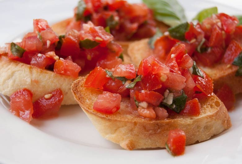 Bruschetta típica de la capital italiana
